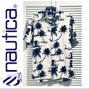 Nautica Palm Tree Silk Blend Shirt Small